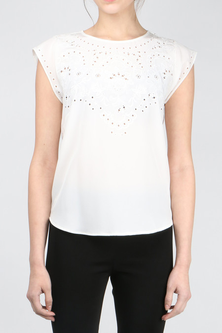 Veronica Beard Melia Embroidered Shell Top