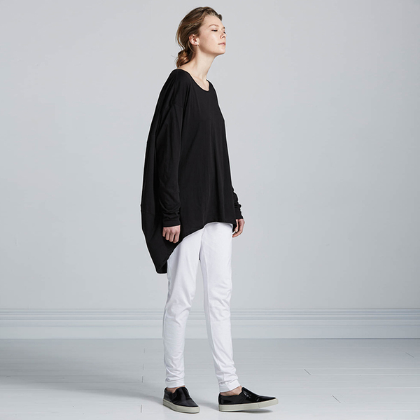 Kowtow Building Block Drape Back Top - black