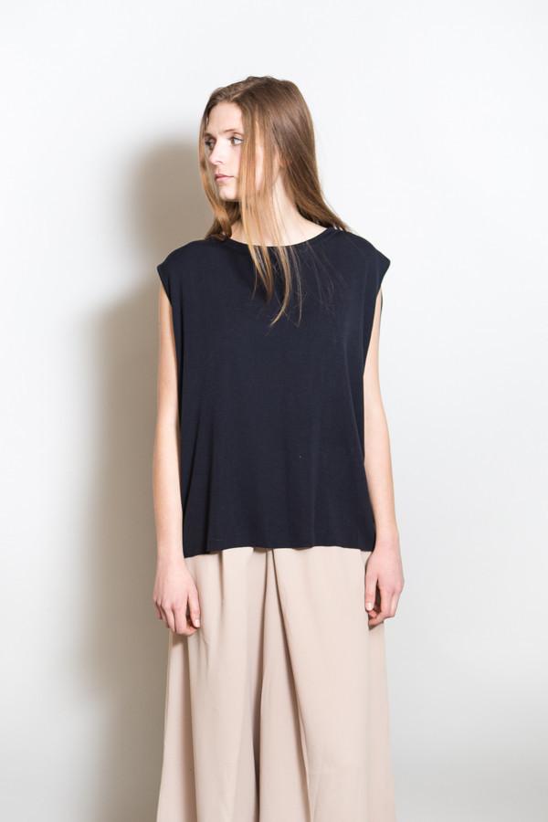 Achro Linen Mixed Knit Top / Navy