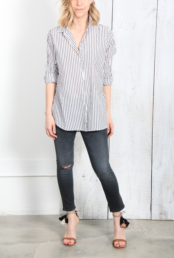 XIRENA BEAU BUTTON DOWN SHIRT IN CHARCOAL STRIPE