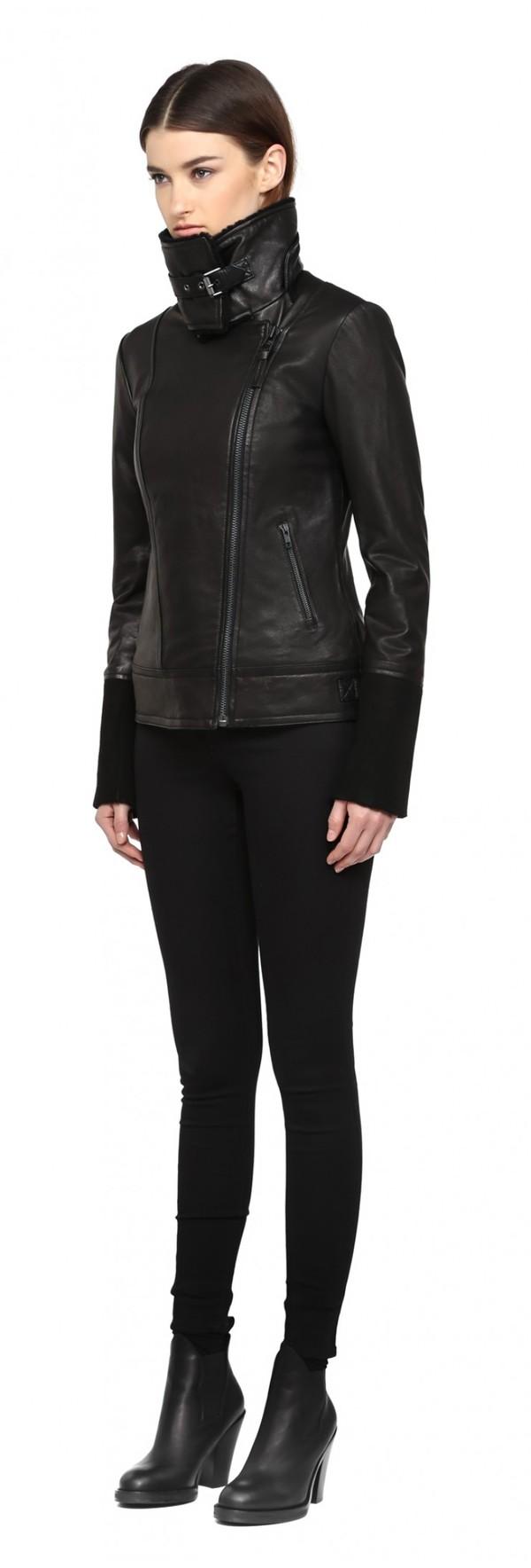 Mackage Safira Black Washed Leather Moto Jacket