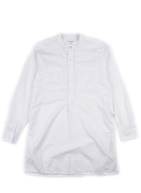 Banded Collar Long Shirt White Cotton Linen