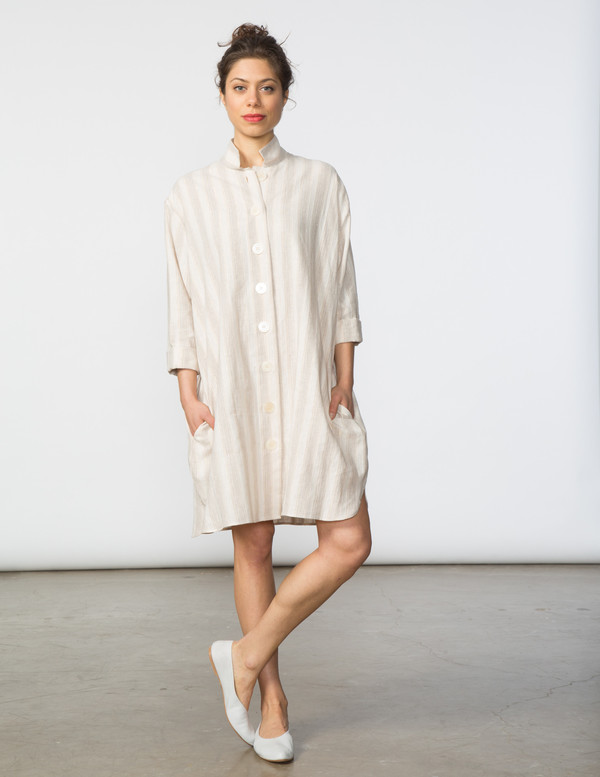 SBJ Austin Stacey Dress in Natural/Gold Thread