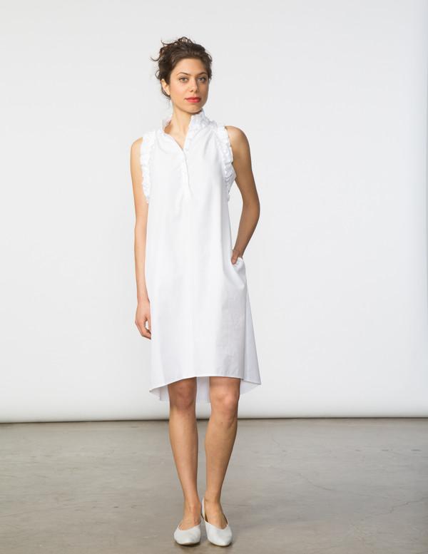 SBJ Austin Tracey Dress in White Poplin