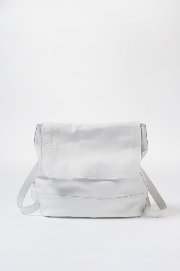 Clyde Leather Room Backpack - White