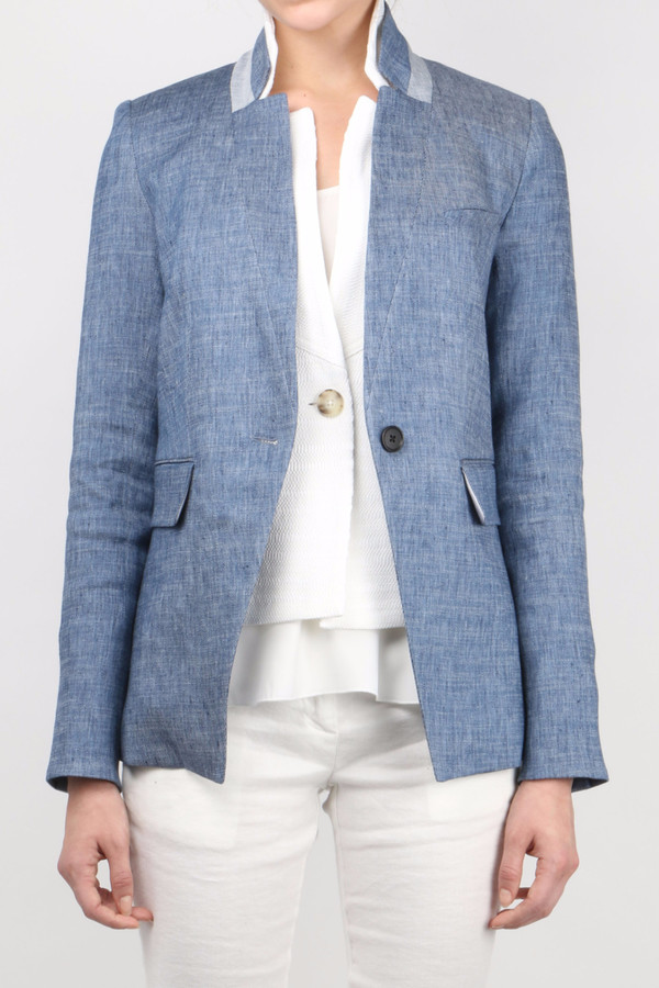 Veronica Beard Orchid Upcollar Jacket w/ White Upcollar Dickey