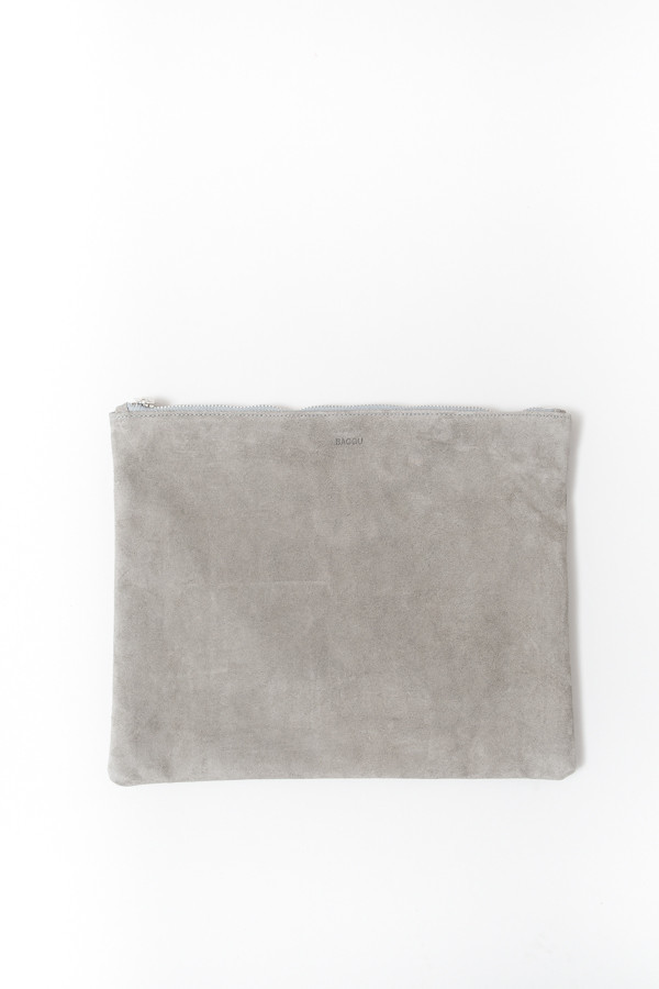 Baggu Large Flat Pouch / Gray Suede