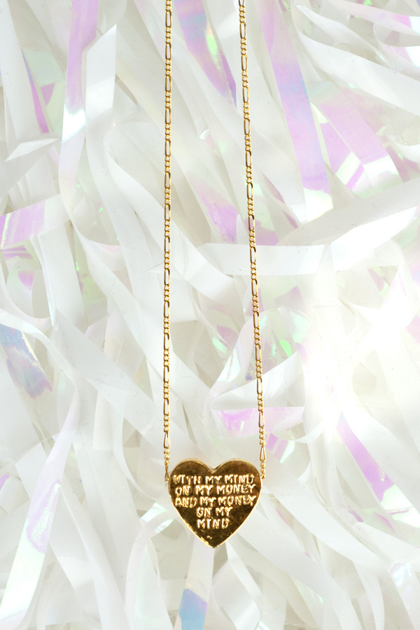"ERICA WEINER Heartbeats Necklace ""With My Mind On My Money And My Money On My Mind"""