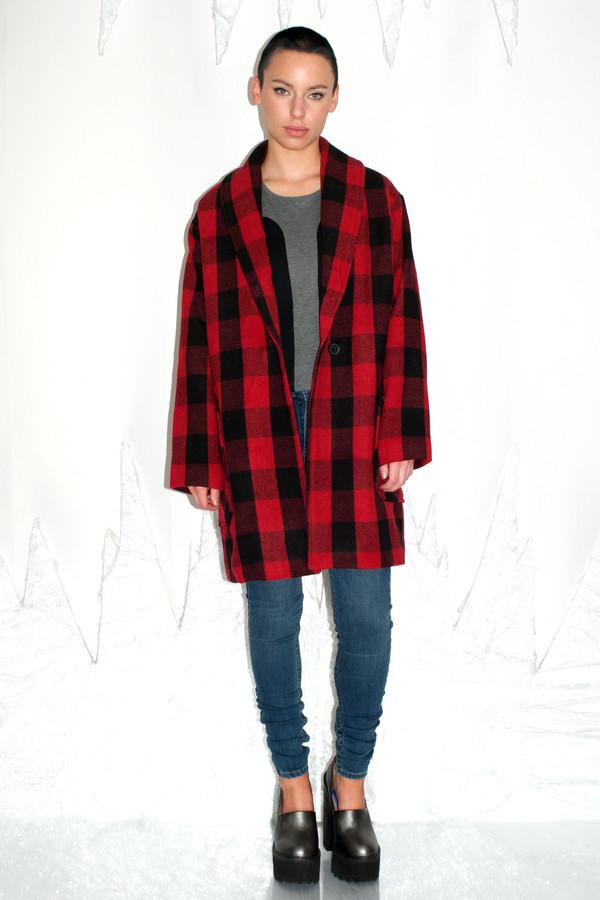 Native Youth Logger Check Shawl Coat