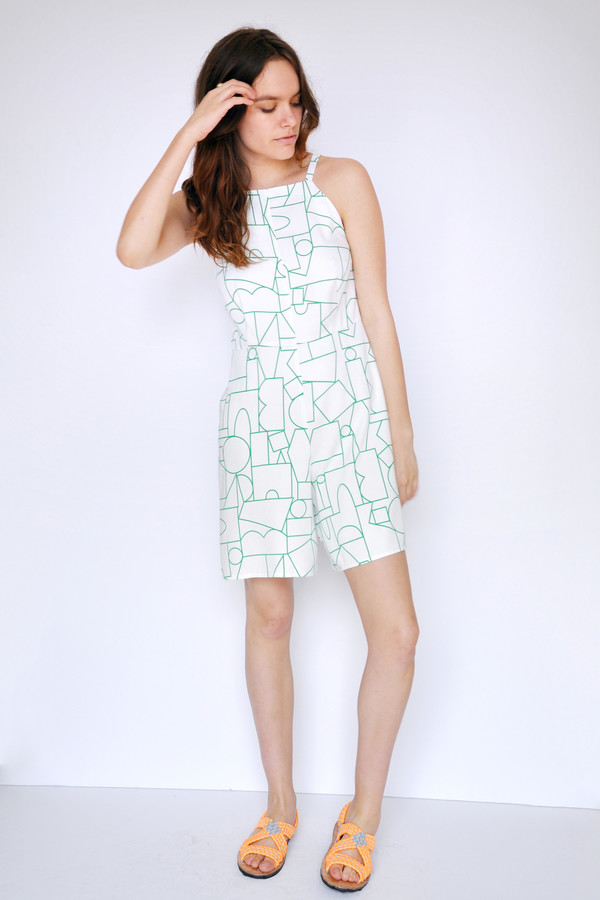 Blockhead Green Flare Shorts Romper