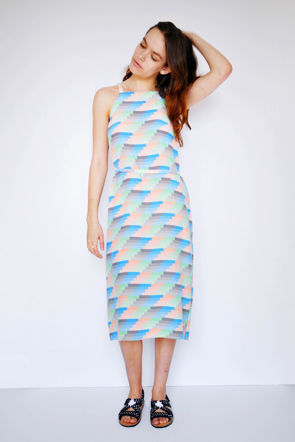 Dusen Dusen Gradient Stripe High Neck Dress