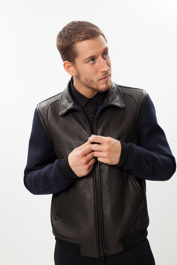 Men's Mauro Grifoni Contrast Sleeve Bomber in Black/Navy