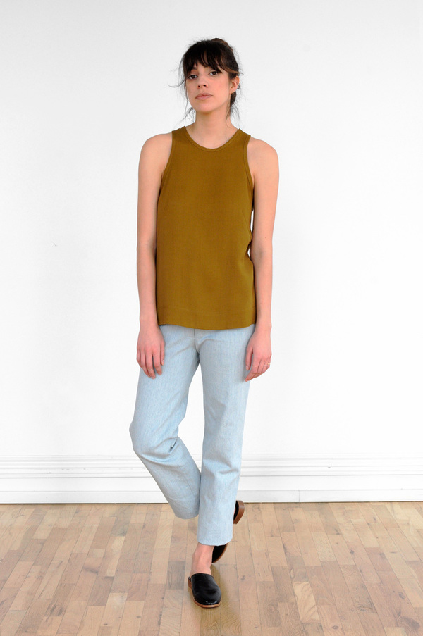 Waltz Racer Top in Golden Olive