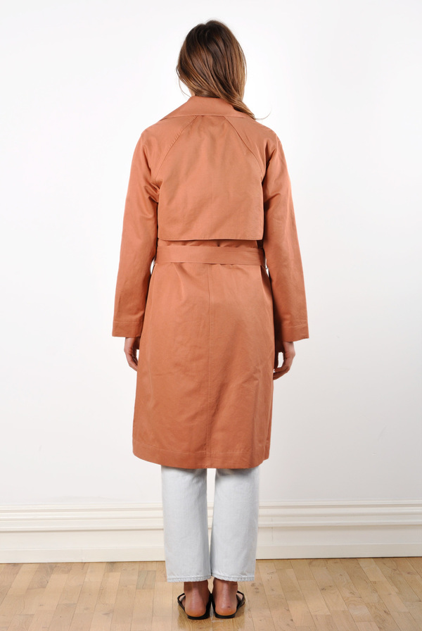 Waltz Trench Coat in Terracotta Linen/Cotton Twill
