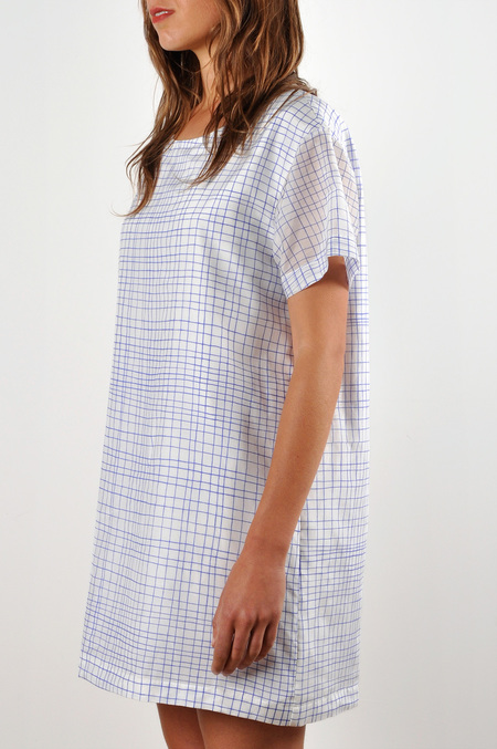 WaltzDrop Shoulder T-shirt Dress in Grid Print Cotton/Silk Voile