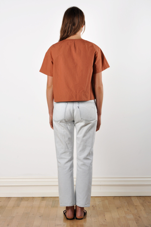 Waltz Drop Shoulder T-shirt in Terracotta Cotton Poplin