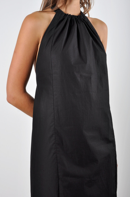 Waltz Gathered Halter Neck Dress in Black Cotton Poplin