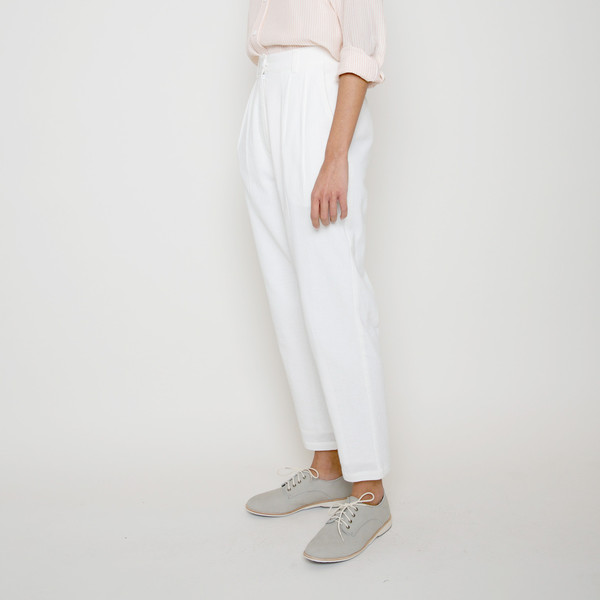 7115 by Szeki High Waisted Trouser- White SS16