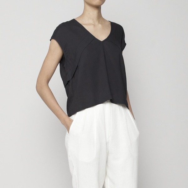 7115 by Szeki Folded V-Neck Blouse