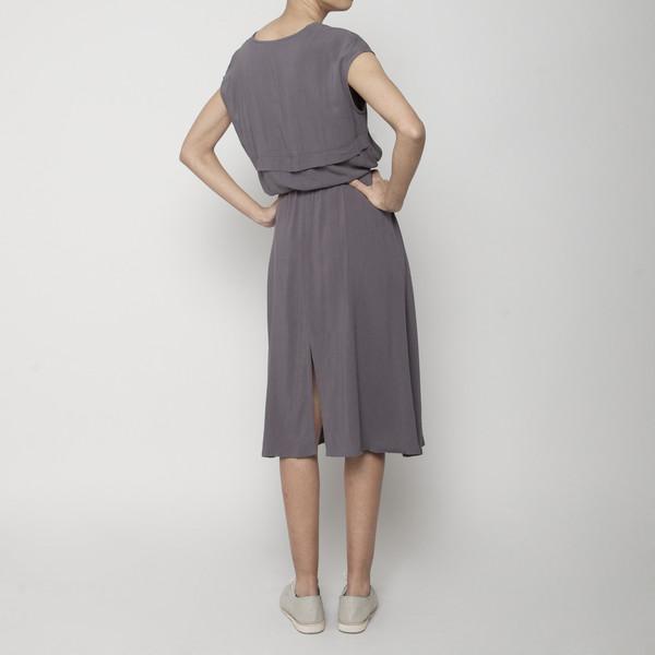 7115 by Szeki Folded V-Neck Drawstring Dress