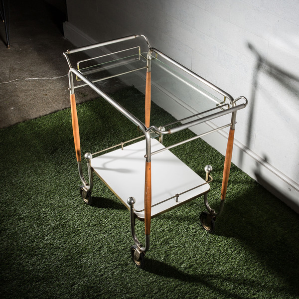 Chrome and Wood Bar Cart