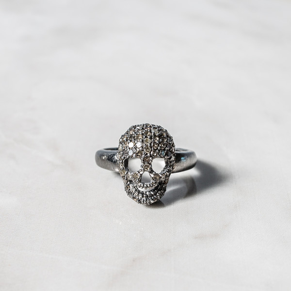 Diamond Skull Ring