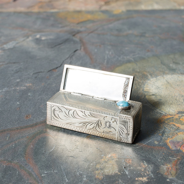 Silver and Turquoise Lipstick Holder