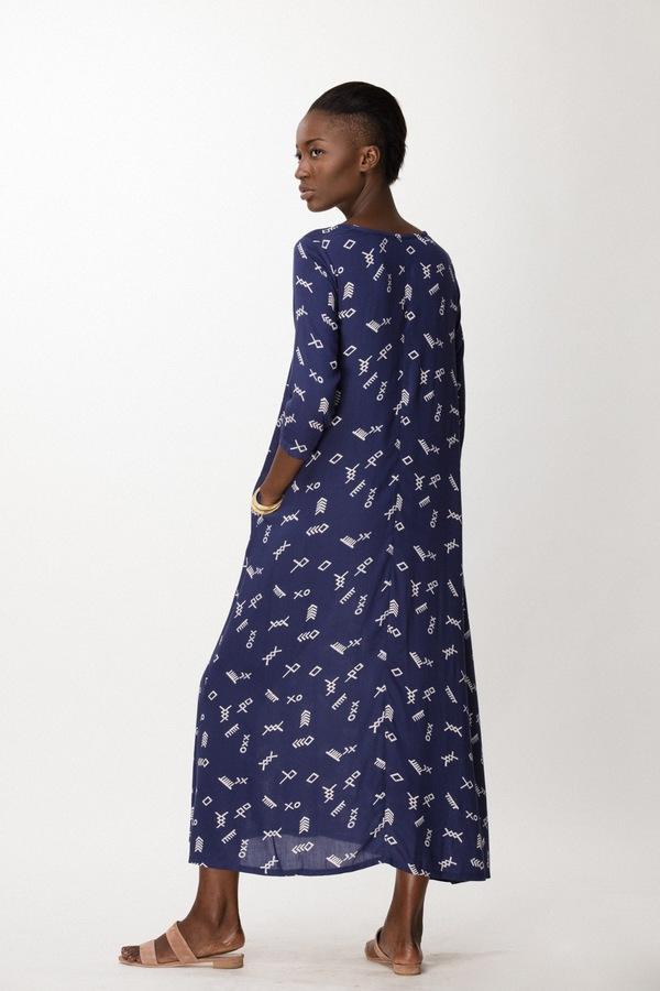 Osei-Duro Nima Long Dress in Cobalt Jot