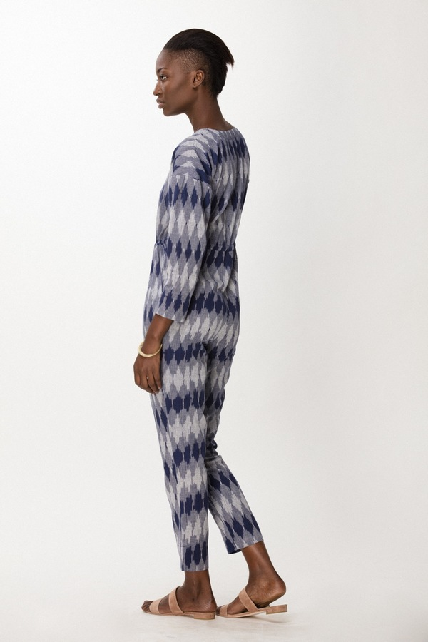 Osei-Duro Toss Jumpsuit in Navy Ikat
