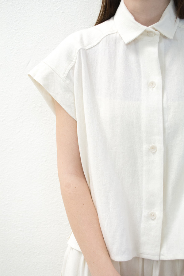 Micaela Greg White Pieced Sleeve Button Up