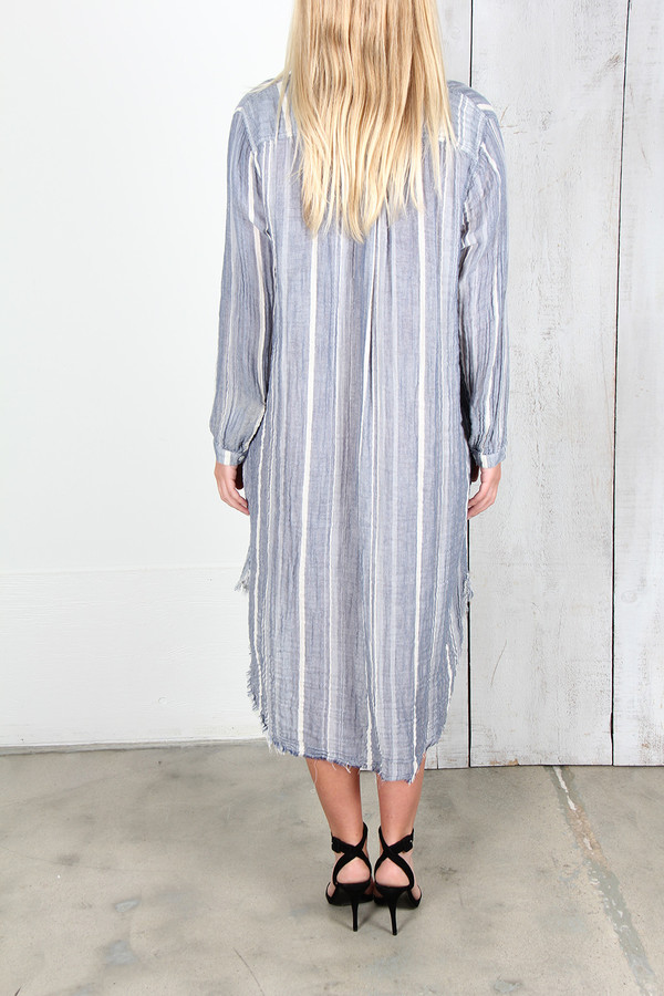RAQUEL ALLEGRA BLUE STRIPE GAUZE HENLY DRESS