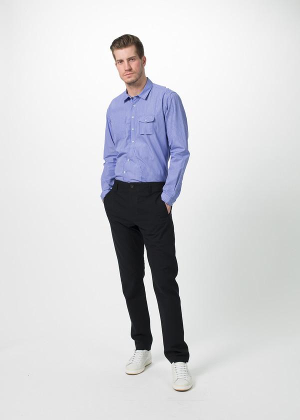 Men's Wooster + Lardini Asymmetrical Placket Shirt - Blue