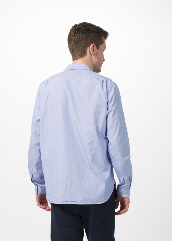 Men's Wooster + Lardini Asymmetrical Placket Shirt - Blue