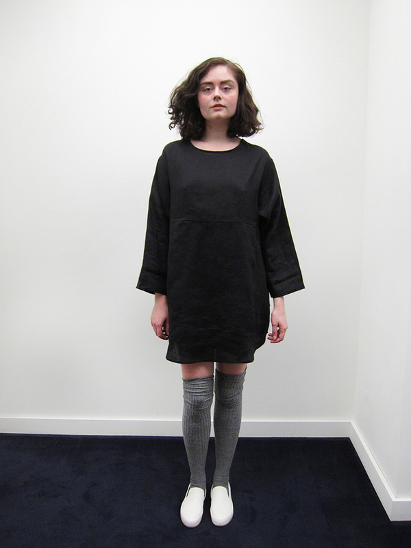 69 Whatever Dress, Black Linen