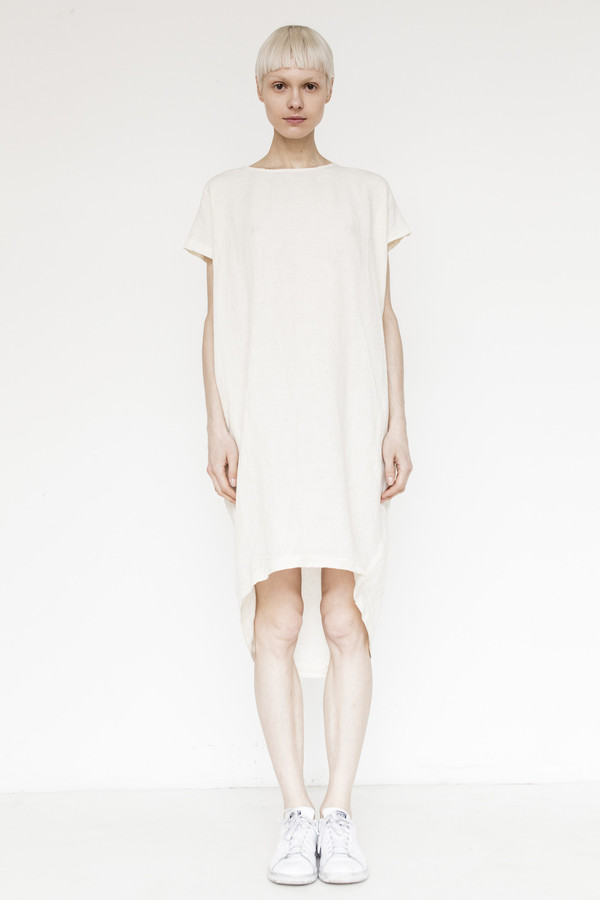 Black Crane Linen Cocoon Dress