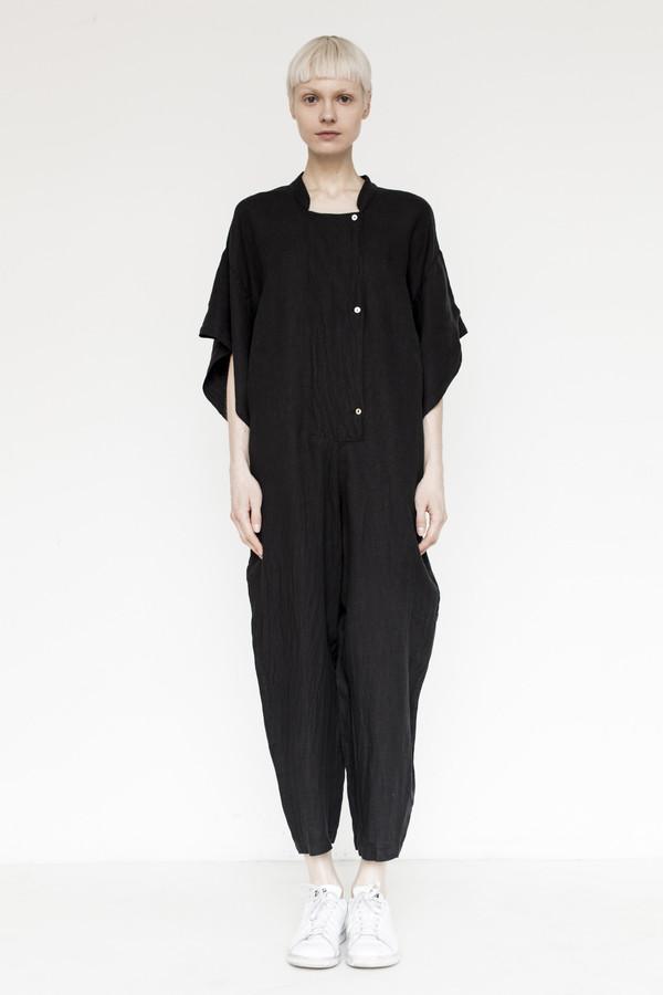 Black Crane Linen Jumpsuit