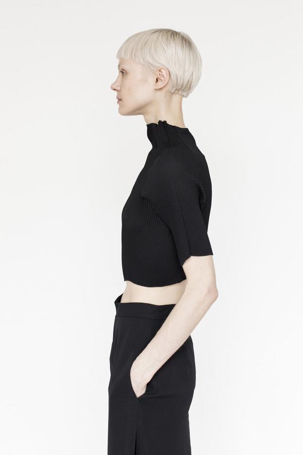 Kallmeyer Pleat Crop Mock-neck