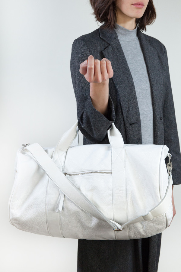 Clyde Duffel Bag in White Leather