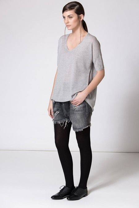 Paychi Guh Boxy Tee Light Heather Grey