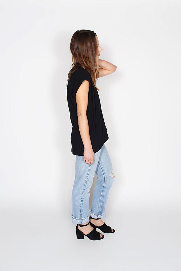 Miranda Bennett Everyday Top, Lined Cotton Gauze in Black