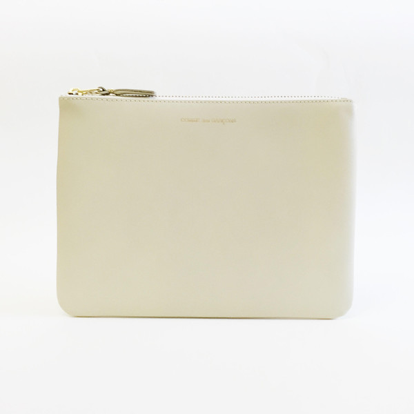 Comme des Garcons - Classic Leather Large Ivory Zip-up Pouch