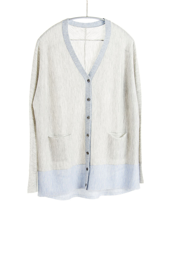 Paychi Guh V-Neck Cardigan Dove Grey/Soft Blue