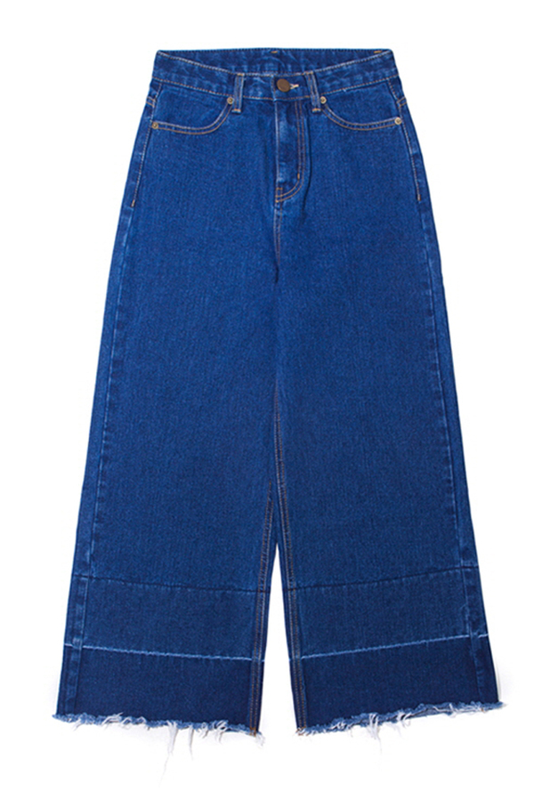 Lookast High Waist Wide Denim Pants- Dark Blue