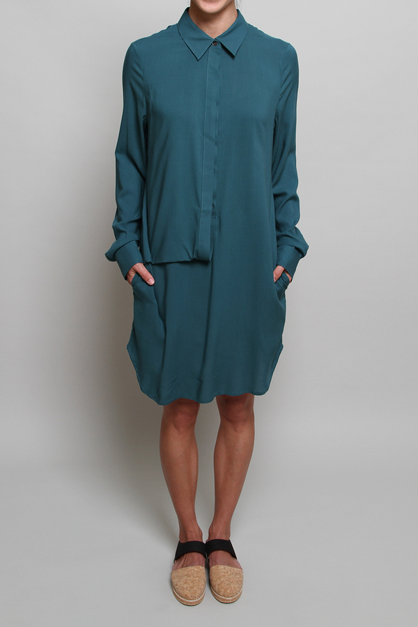 Chalayan Front Loop Dress in Shadow Green