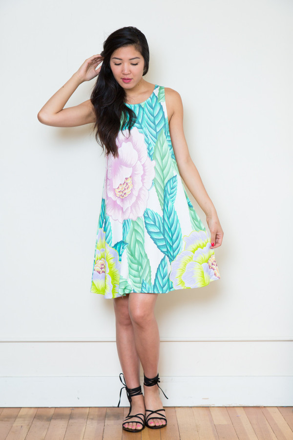 mara hoffman floral ponte swing dress
