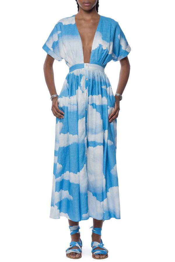 mara hoffman linen deep v kimono dress