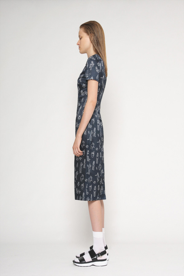"Diarte ""Manel"" Printed Short Sleeve Silk Cotton Dress"