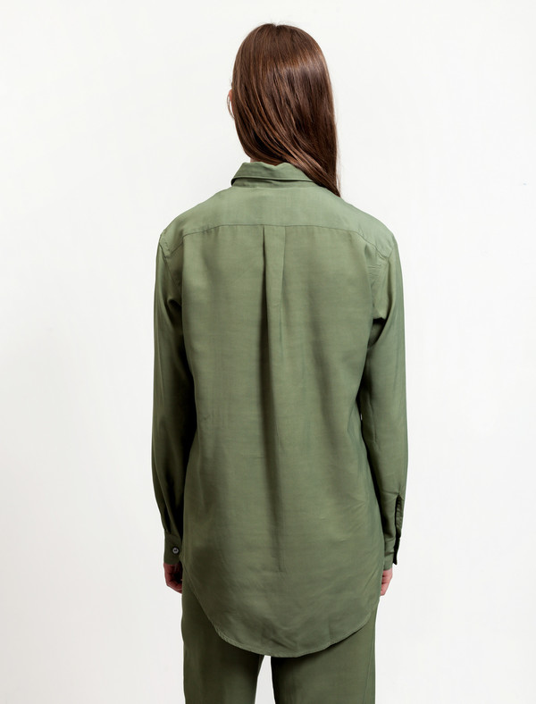 Lemaire Pointed Collar Shirt Olive