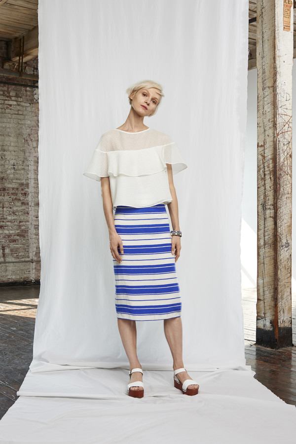 Whit Stripe Marlowe Midi Skirt