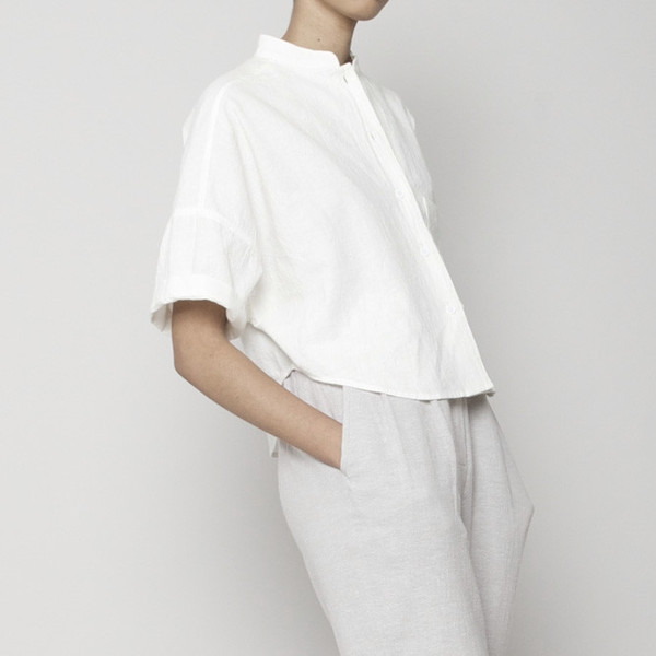 7115 by Szeki Pocket Cropped Shirt- White SS16